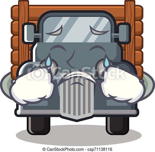 caminhão, forma, antigas, chorando, mascote - csp71138116