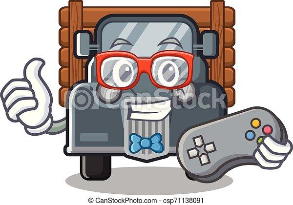 caminhão, forma, antigas, gamer, mascote - csp71138091