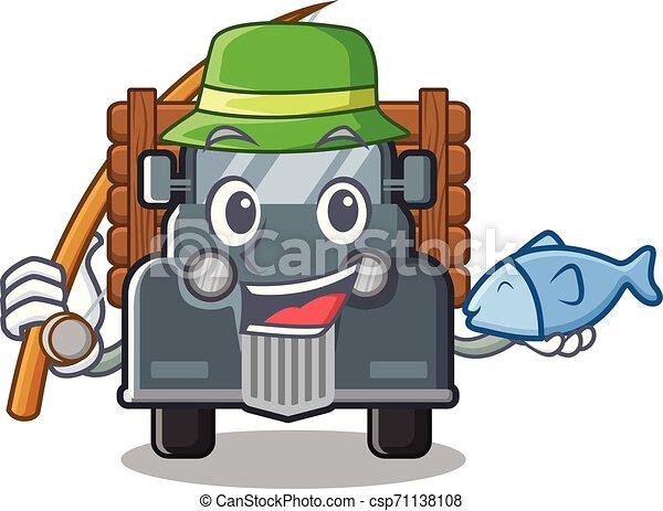 caminhão, forma, antigas, pesca, mascote - csp71138108