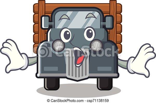 caminhão, forma, antigas, surpreendido, mascote - csp71138159
