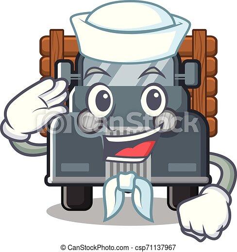 caminhão, marinheiro, antigas, isolado, caricatura - csp71137967