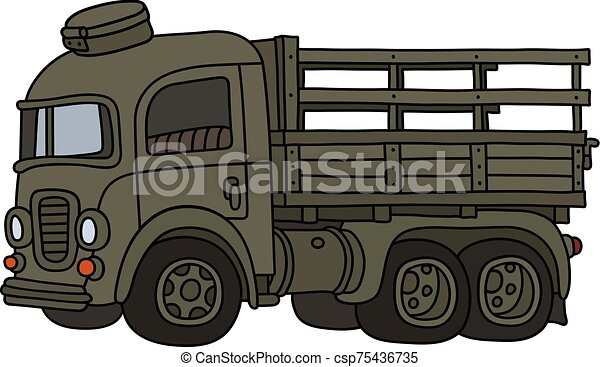 caminhão velho, engraçado, cáqui, militar - csp75436735