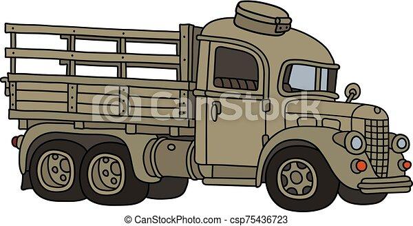 caminhão velho, engraçado, militar, areia - csp75436723