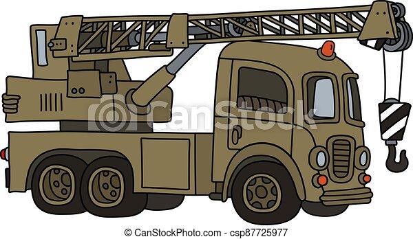 caminhão velho, engraçado, militar, guindaste - csp87725977