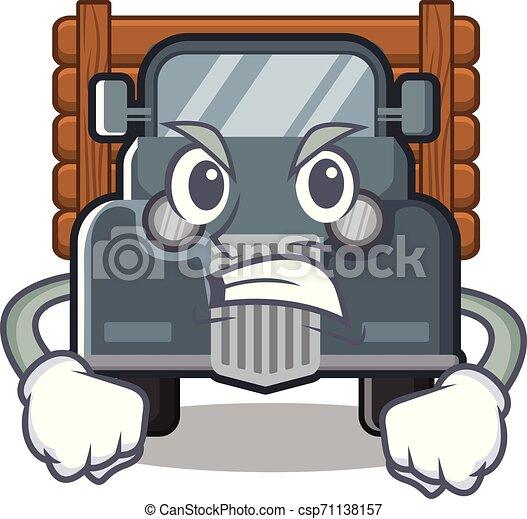 caminhão, zangado, antigas, forma, mascote - csp71138157