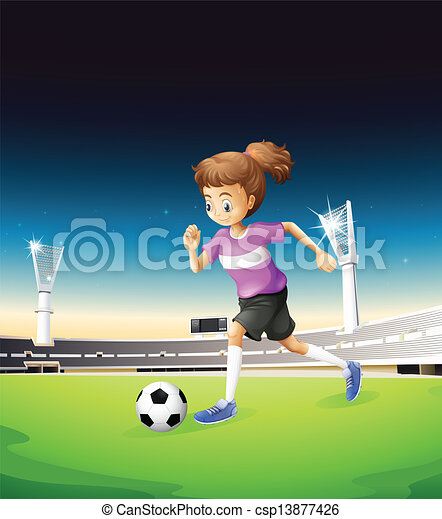 Campo Menina Futebol Tocando Ilustracao Canstock