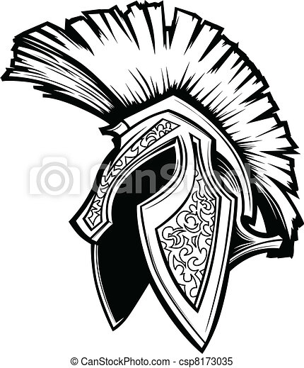 capacete, spartan, vetorial, trojan, mascote - csp8173035