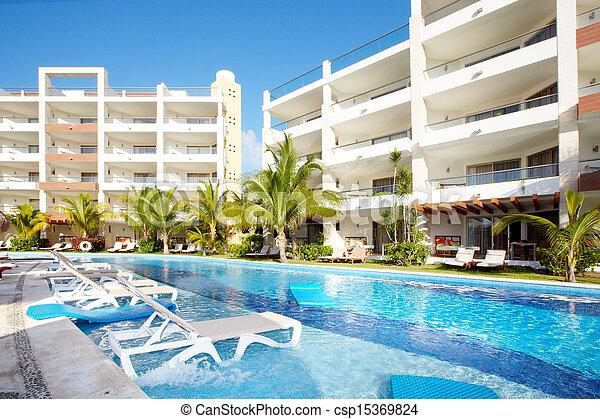 caraíbas, resort., piscina, natação - csp15369824