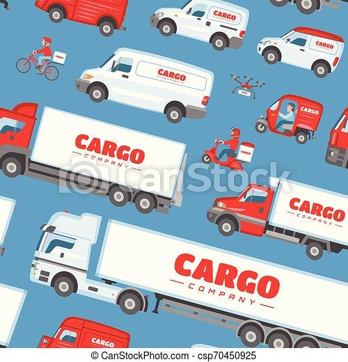 carga, carga, jogo, furgão, fundo, cima, car, minivan, isolado, ilustração, entregar, entrega, vetorial, caminhão, transportar, frete, veículo, transporte, branca, ou, escarneça - csp70450925