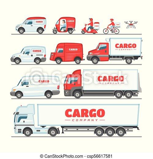 carga, carga, jogo, furgão, fundo, cima, car, minivan, isolado, ilustração, entregar, entrega, vetorial, caminhão, transportar, frete, veículo, transporte, branca, ou, escarneça - csp56617581