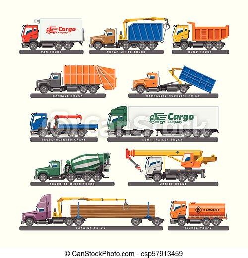 carga, jogo, transporte, ou, isolado, ilustração, trucking, entrega, concreto, vetorial, caminhão, misturador, fundo, veículo, branca, reboque, camião, transporte - csp57913459
