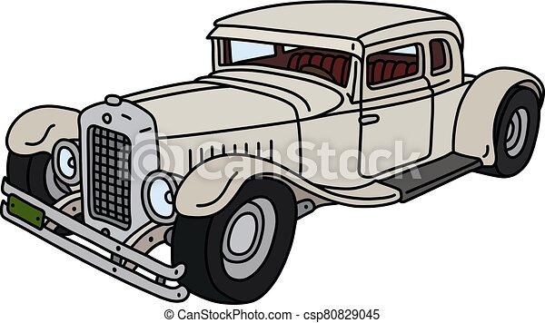carro engraçado, branca, vindima - csp80829045