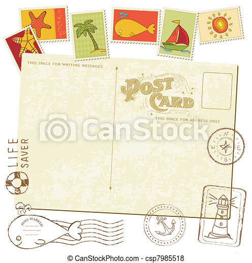 cartão postal, -, selos, desenho, retro, mar, convite, scrapbook - csp7985518