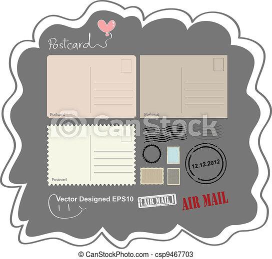 cartão postal, vindima, projetado - csp9467703