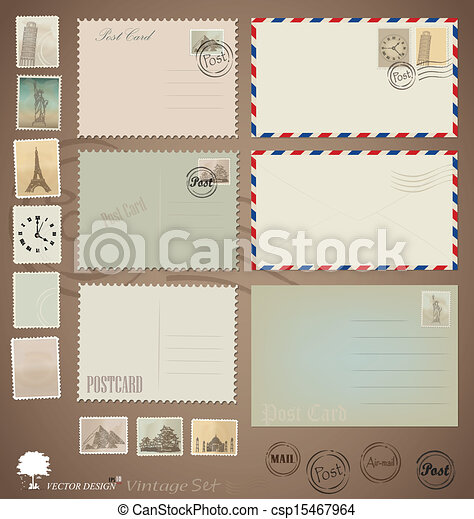 cartão postal, vindima, projetos, vetorial, stamps., envelopes, set: - csp15467964