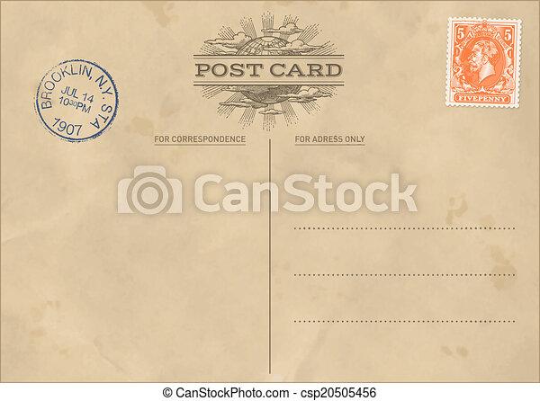 cartão postal, vindima, vetorial, modelo - csp20505456