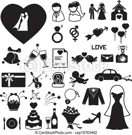 casório, ícones, jogo, eps, ilustração - csp19763462