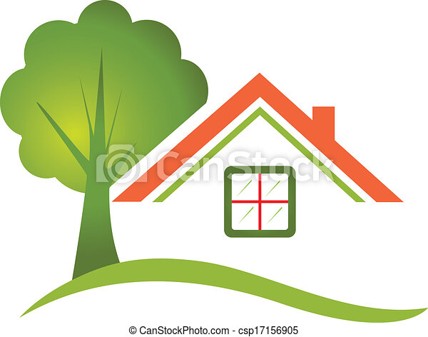 casa, árvore, real, logotipo, propriedade - csp17156905