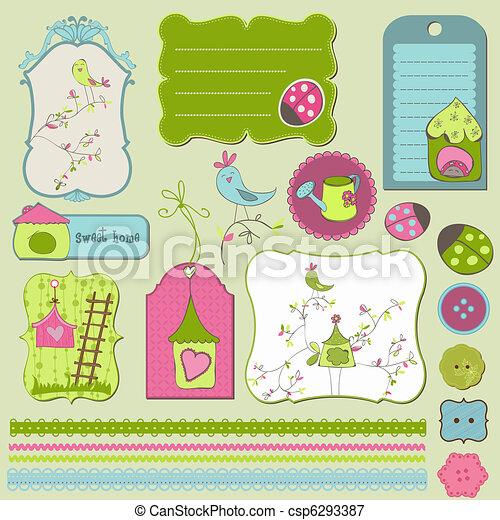 casa, elementos, desenho, pássaro - csp6293387