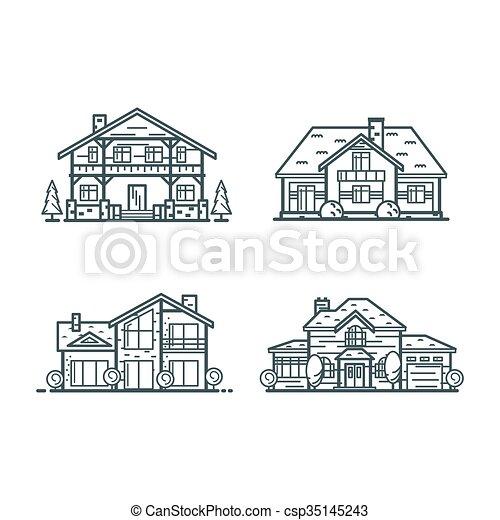 casas, residencial, linha magra, ícones - csp35145243