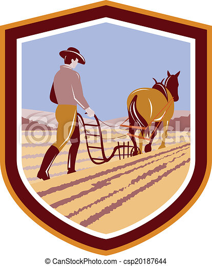 cavalo, cultive campo, retro, agricultor, crista, arar - csp20187644