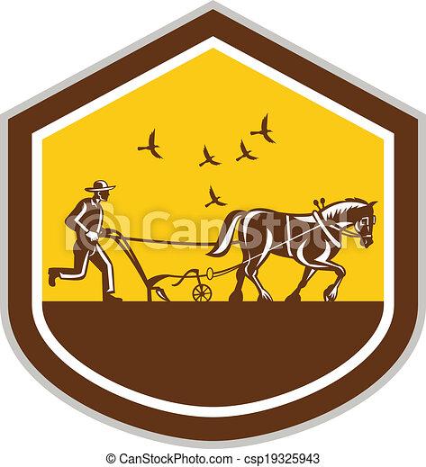 cavalo, escudo, campo, retro, agricultor, arar - csp19325943