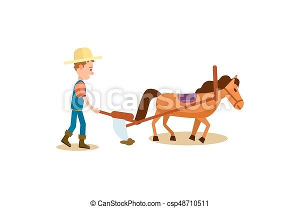 cavalo, isolado, vetorial, agricultor, arar, ícone - csp48710511