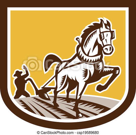 cavalo, woodcut, fazenda, arado, retro, agricultor, crista - csp19589680