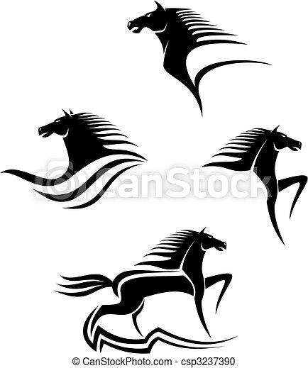 cavalos, símbolos, pretas - csp3237390