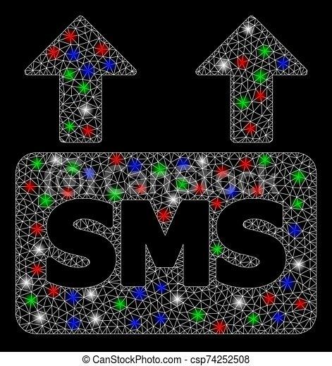 chama, massa, quadro, fio, enviando, sms, manchas, malha, luminoso - csp74252508