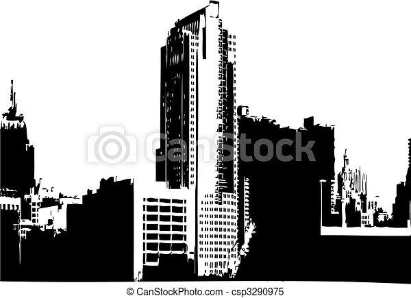 cidade, vetorial, gráficos - csp3290975