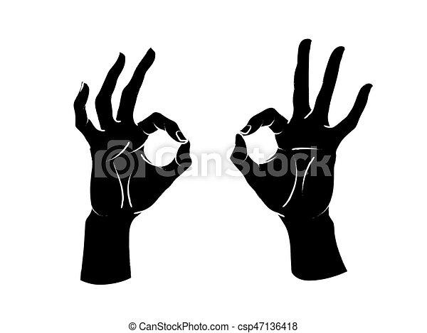 cima., índice, polegar, sinal., dois, gesture., dedos, outro, fêmea passa, okey, fazer, círculo, vector. - csp47136418