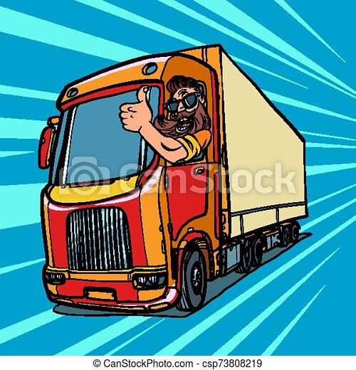 cima, caminhão, driver., polegares, barba, homem - csp73808219