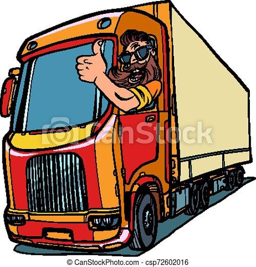 cima, caminhão, polegares, driver., homem, barba - csp72602016