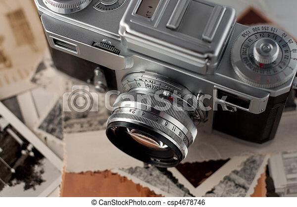 cima., fotografias, câmera, antigas, fim - csp4678746