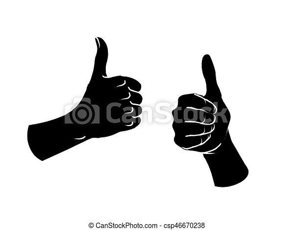 cima., semelhante, sinal., dois, gesture., polegares, fêmea passa - csp46670238