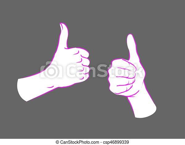 cima., semelhante, sinal., dois, gesture., polegares, fêmea passa - csp46899339