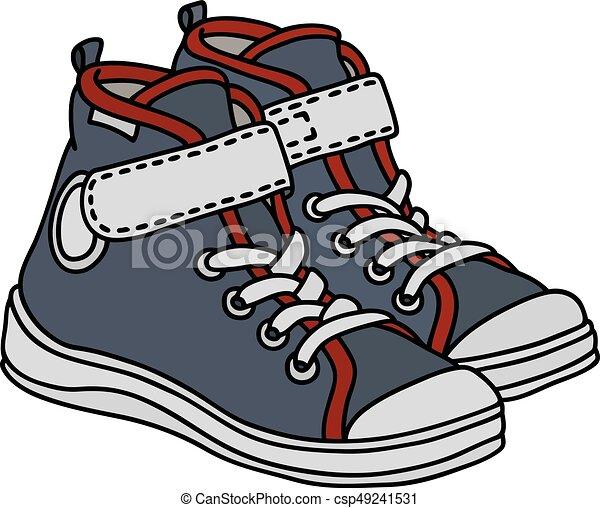 cinzento, branca, sneakers - csp49241531