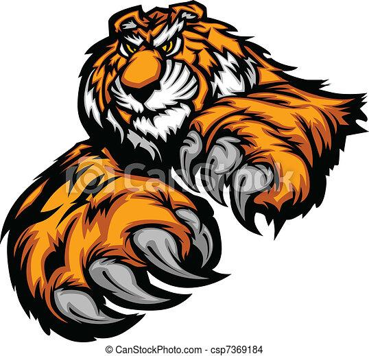 cla, corporal, tiger, mascote, patas - csp7369184