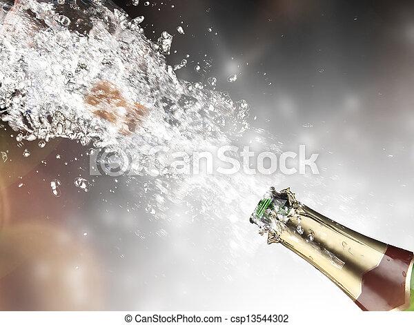 close-up, champanhe, explosão - csp13544302