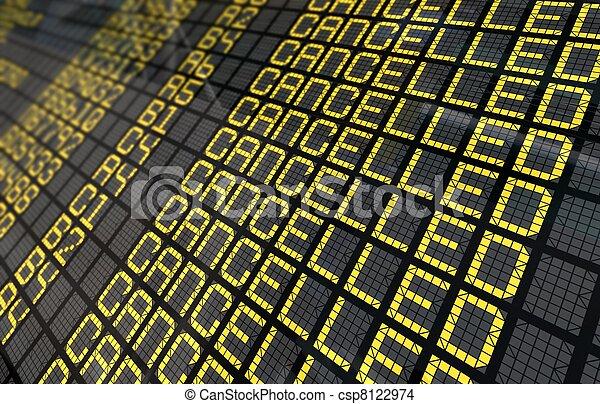 close-up, tábua, cancelado, internacional, vôos, aeroporto - csp8122974