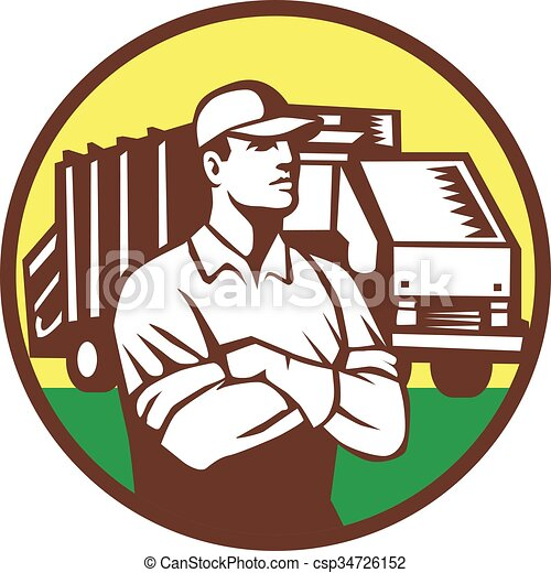 cobrador, lixo, círculo, caminhão, retro, lixo - csp34726152