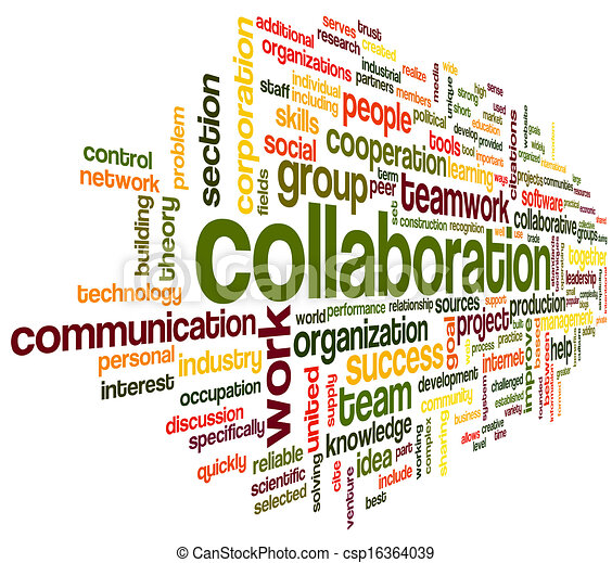 colaboração, conceito, palavra, nuvem, tag - csp16364039