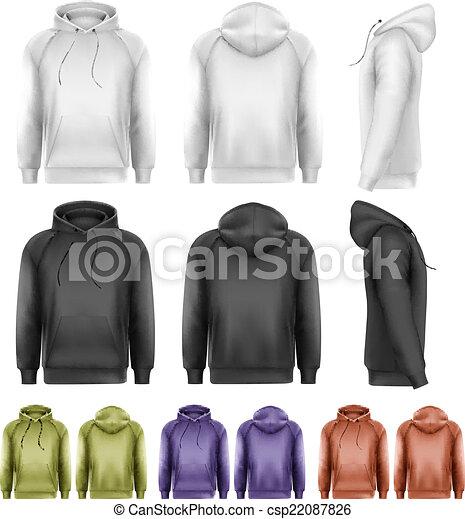 colorido, diferente, macho, jogo, vector., hoodies. - csp22087826