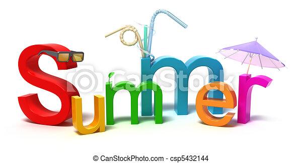 colorido, verão, palavra, letras - csp5432144