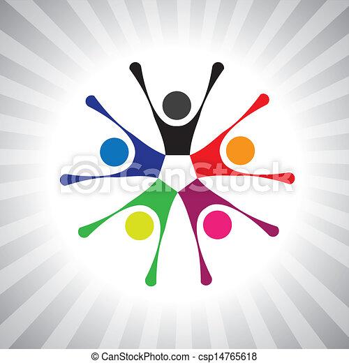 coloridos, comunidade, camaradas, também, tocando, divertimento, vibrante, simples, friendship-, tendo, vetorial, crianças, celebrando, graphic., lata, reunião, excitado, crianças, ilustração, pessoas, represente, este - csp14765618