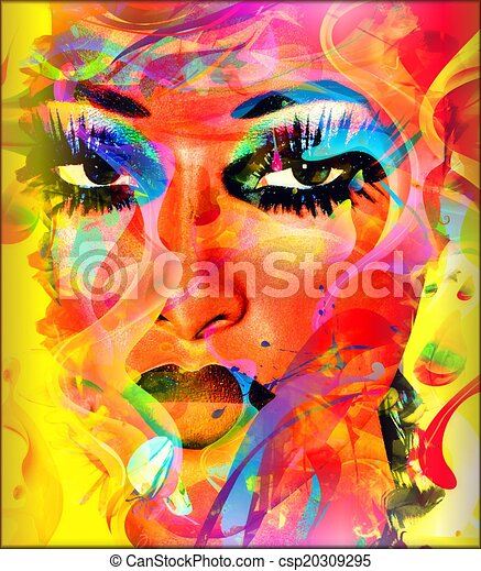 coloridos, mulher, face abstrata - csp20309295