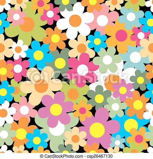 coloridos, seamless, flor, experiência., pattern. - csp26467130