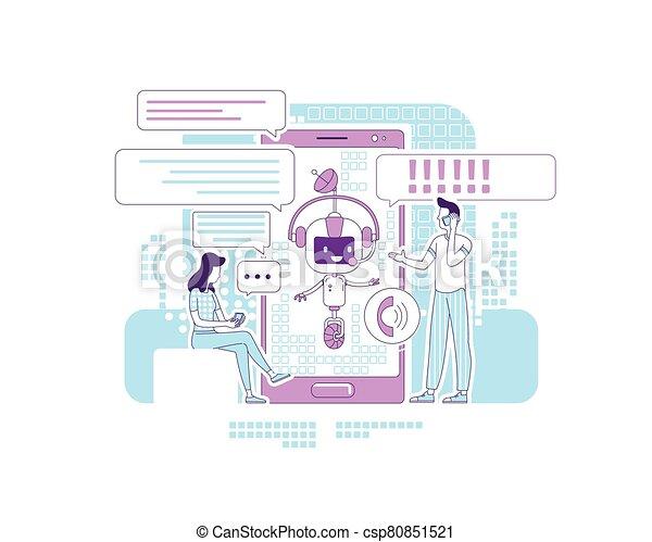 comunicação, bot, criativo, apoio, design., social, magra, online, caricatura, vetorial, linha, serviço, caráteres, conceito, 2d, illustration., pessoas, chatbot, teia, redes, falando, idéia, application., app - csp80851521