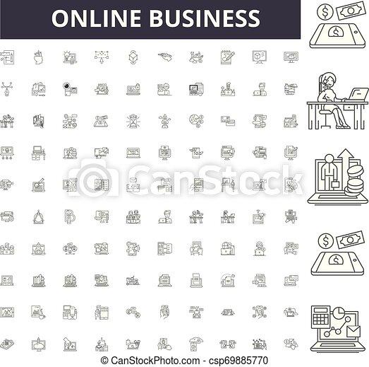 conceito, esboço, negócio, jogo, ícones, ilustração, vetorial, online, linha, sinais - csp69885770